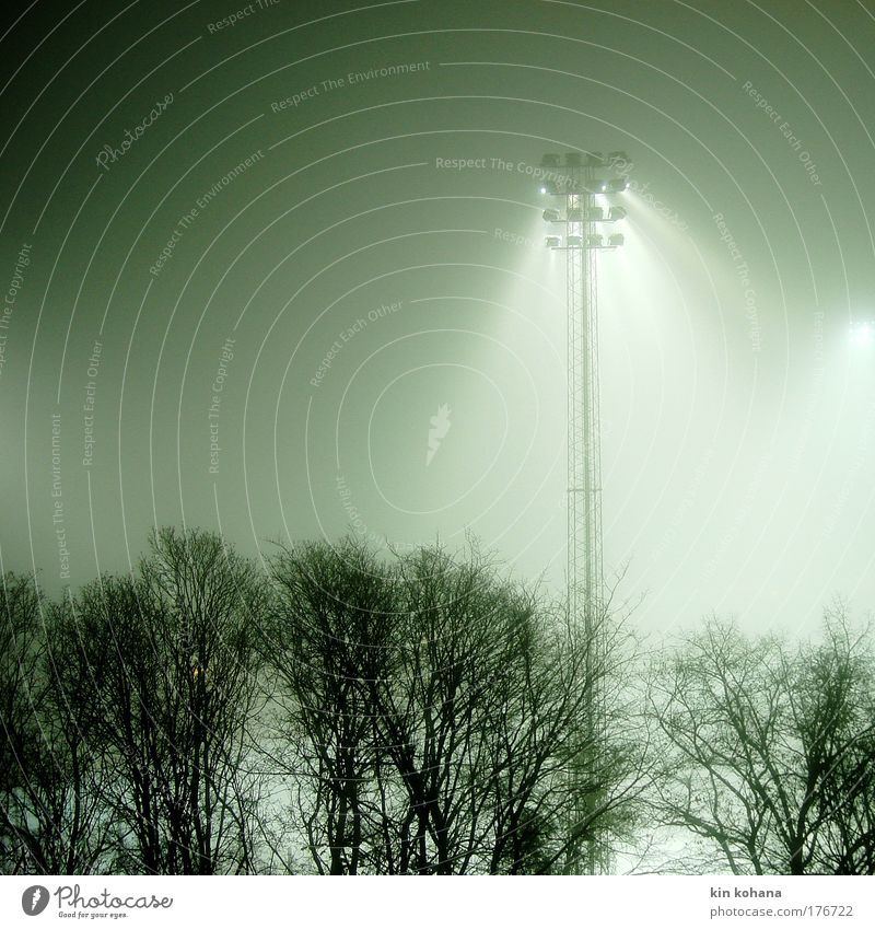 floodlight _ 02 Colour photo Exterior shot Night Light Shadow Silhouette Stadium Winter Fog Deserted Loneliness Transience Stockholm Sweden Diffuse Reflector