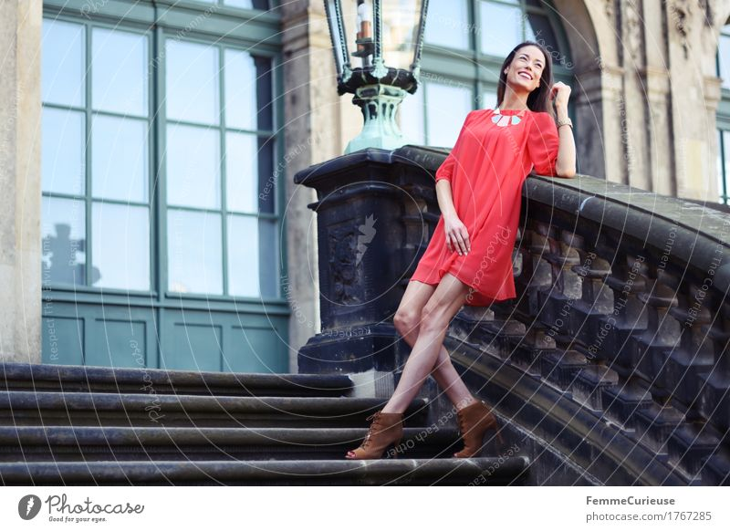 LadyInRed_1767285 Happy Beautiful Young woman Youth (Young adults) Woman Adults Human being 18 - 30 years Fashion Feminine Contentment Zwinger Dresden Tourist