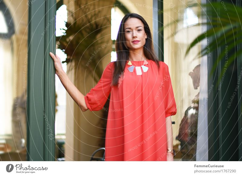 Human being Woman Youth (Young adults) Beautiful Young woman Red House (Residential Structure) 18 - 30 years Adults Lifestyle Feminine Style Laughter Fashion Elegant Success