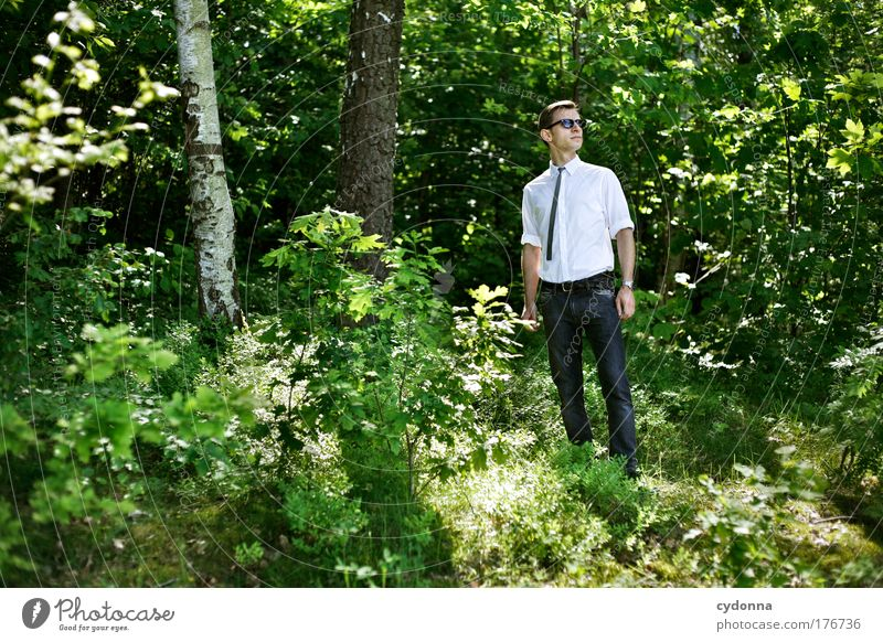 Human being Man Nature Youth (Young adults) Beautiful Tree Summer Adults Forest Life Environment Freedom Style Dream Fashion Contentment