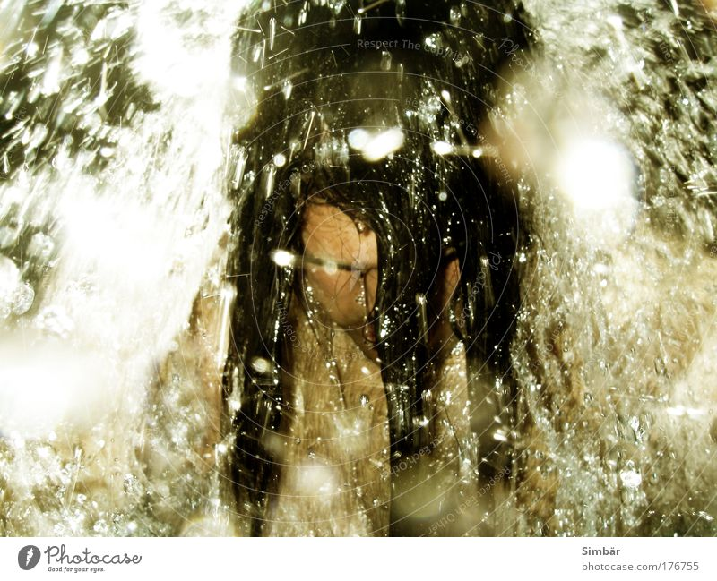 Human being Man Water Adults Life Playing Hair and hairstyles Head Swimming & Bathing Masculine Wet Drops of water Chest Waterfall Inject