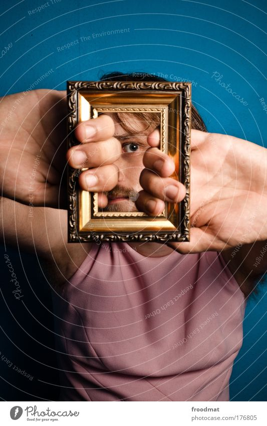 Human being Man Hand Youth (Young adults) Eyes Portrait photograph Funny Adults Masculine Gold Design Crazy Cool (slang) Dress Kitsch