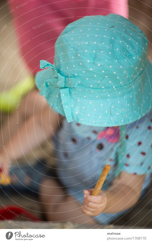 """Beware"" Toddler Girl Infancy Body Arm Hand Fingers Legs Feet 1 Human being 1 - 3 years Sandpit Salt stick nursery hat Headwear Eating Sit Playing Beautiful"