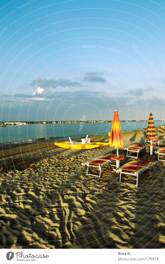 Long shadows in Rimini Colour photo Exterior shot Copy Space top Evening Twilight Light Shadow Contrast Sunbeam Sunrise Sunset Joy Relaxation Calm