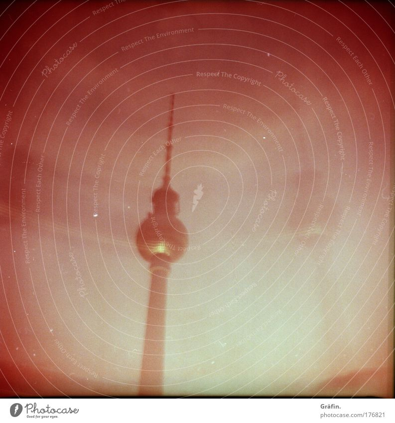 Sky Red Dark Berlin Building Pink Trip Tourism Telecommunications Manmade structures Skyline Double exposure Information Technology Surrealism Sightseeing