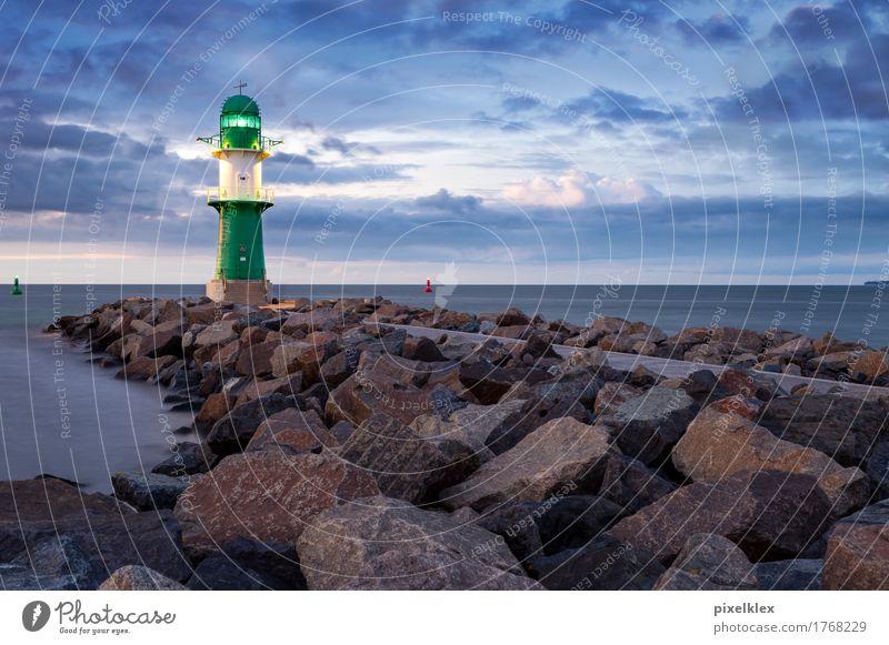 Lighthouse at the Baltic Sea (Warnemünde) Vacation & Travel Tourism City trip Environment Nature Landscape Water Night sky Horizon Sunrise Sunset Climate