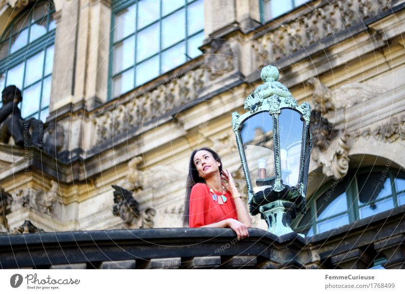 Human being Woman Youth (Young adults) Young woman Red Calm 18 - 30 years Adults Architecture Lighting Feminine Facade Tourism Dream Trip Culture