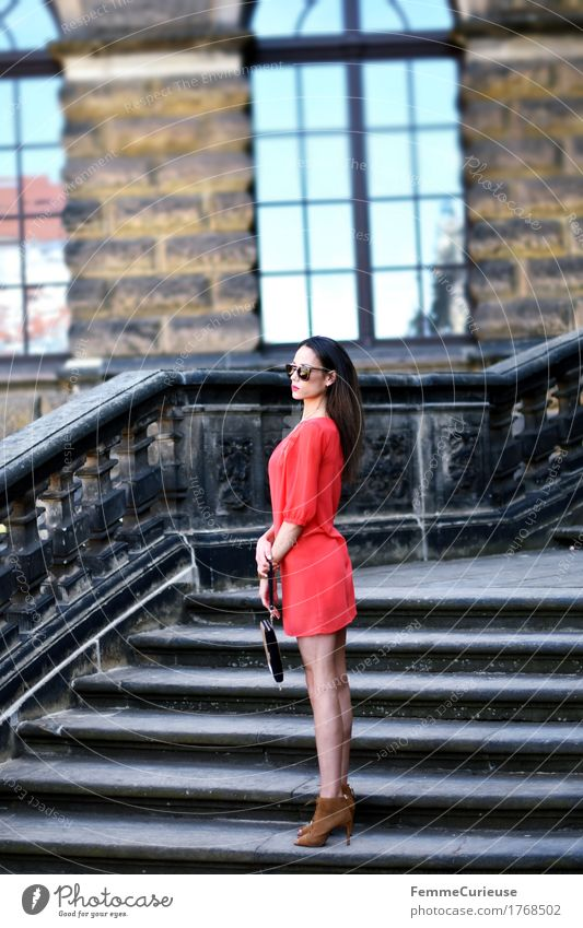 Human being Woman Youth (Young adults) Beautiful Young woman Red 18 - 30 years Adults Lifestyle Feminine Style Fashion Brown Facade Stairs Elegant