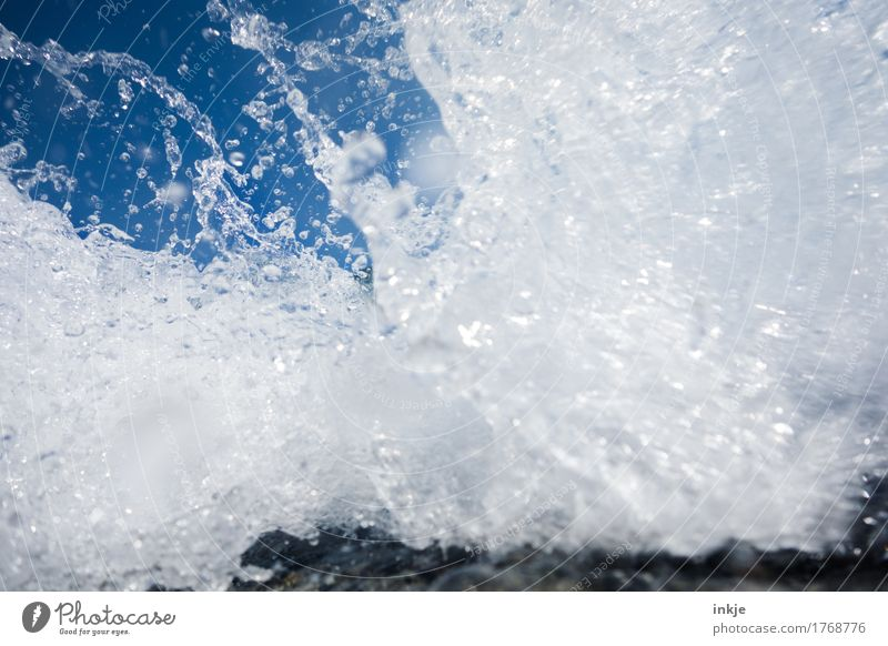 refreshment Water Drops of water Cloudless sky Summer Beautiful weather Ocean White crest Surf Fresh Wet Clean Wild Blue Pure Refreshment Clarity Clear sky