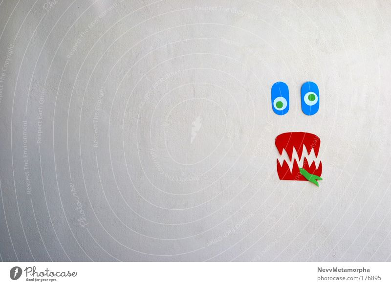 Green Blue Face Wall (building) Funny Crazy Paper Bizarre Piece of paper Muddled Grimace