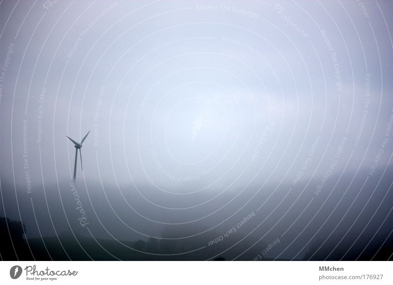 Fog Weather Drops of water Wind energy plant Dreary Eifel Vision Ground fog