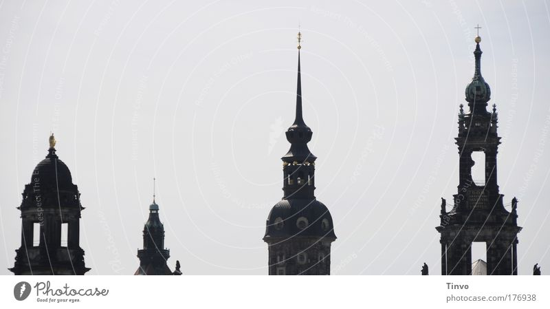 Dresden Towers Subdued colour Exterior shot Deserted Copy Space left Copy Space top Day Shadow Contrast Silhouette Capital city Old town Skyline Church Castle