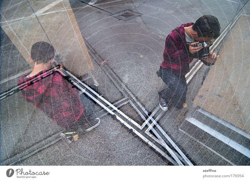 Human being Youth (Young adults) Adults Photography Masculine Observe Curiosity 18 - 30 years Hip & trendy Artist Interior courtyard Photo shoot Young man