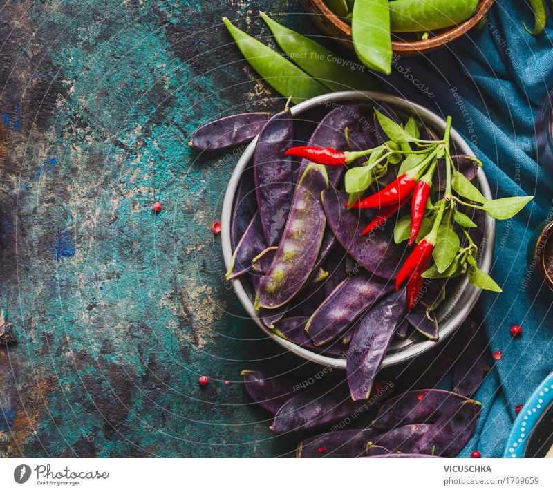 Bowl with purple pea pods Food Vegetable Herbs and spices Nutrition Organic produce Vegetarian diet Diet Style Design Healthy Eating Life Table Kitchen Nature
