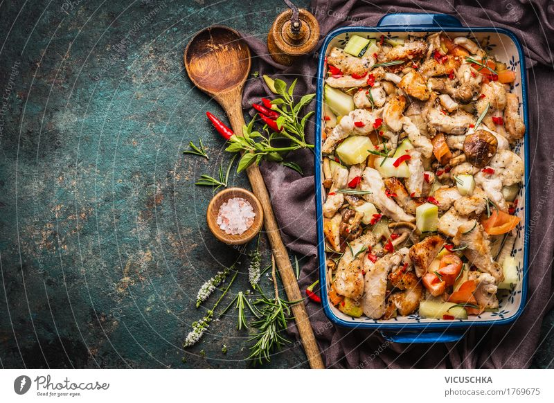 Casserole with chicken and vegetables Food Meat Vegetable Herbs and spices Cooking oil Nutrition Lunch Dinner Buffet Brunch Banquet Organic produce Diet