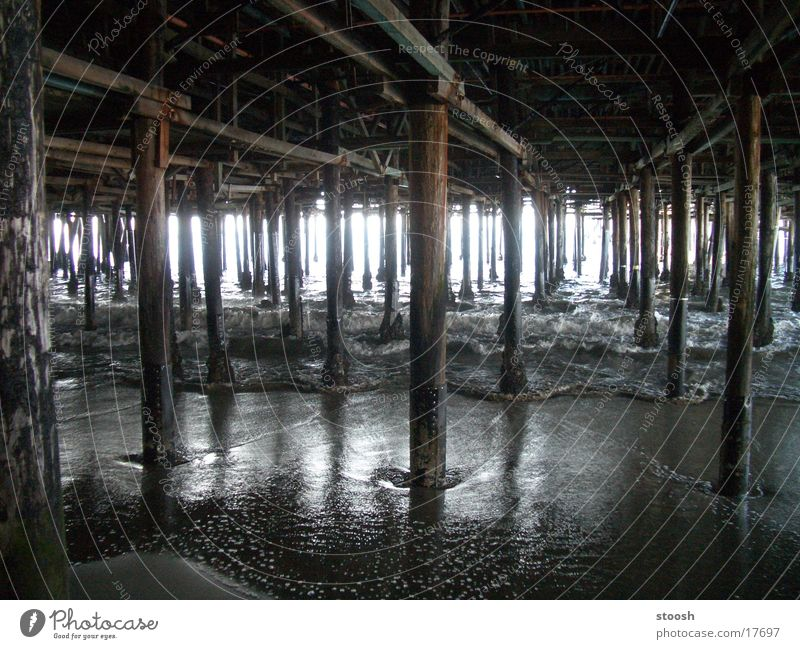 darkwater Jetty Wooden stake Water Ocean Back-light Deserted Sea water Sunlight Multiple Maximum Wet Central perspective Wooden rack Wooden structure