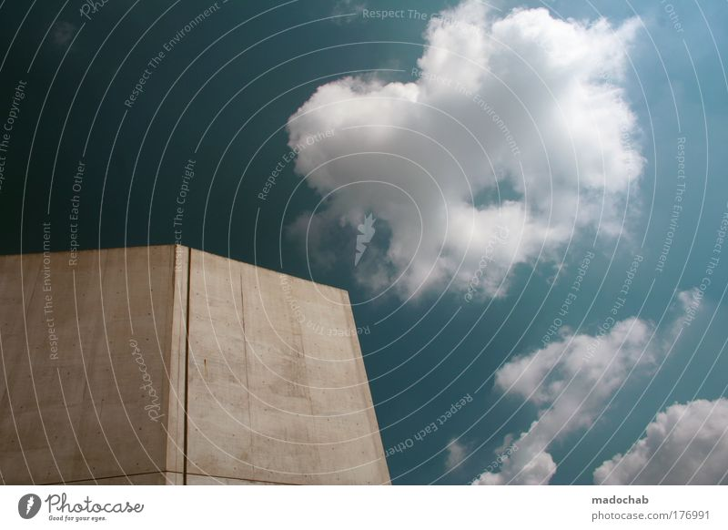 Sky Blue City Calm Clouds Loneliness Cold Building Power Architecture Weather Elegant Esthetic Simple Protection Firm