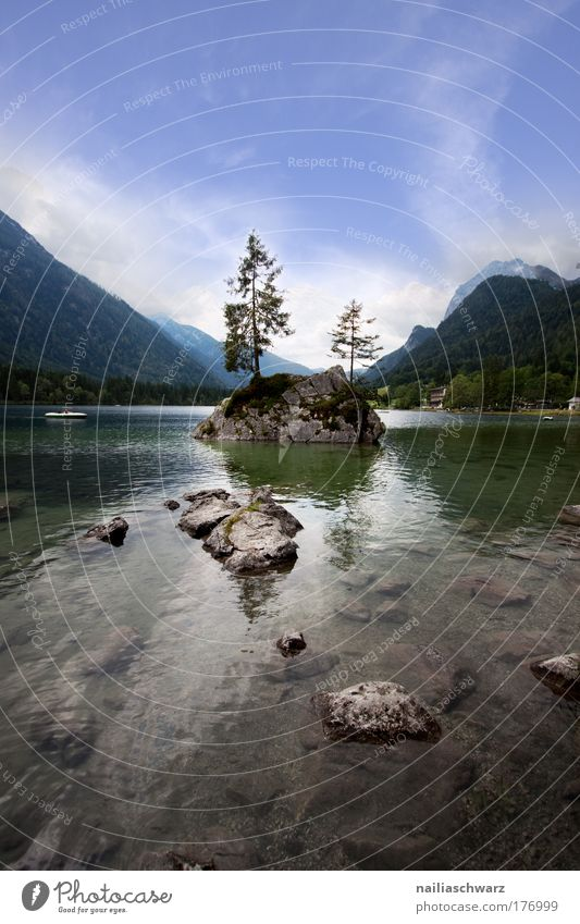At the Hintersee Colour photo Exterior shot Deserted Day Reflection Sunlight Wide angle Vacation & Travel Tourism Trip Summer Island Mountain Nature Landscape