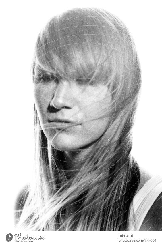 m i l k Black & white photo Flash photo Back-light Feminine Hair and hairstyles Blonde White Longing Wanderlust Loneliness Emotions High-key Sadness