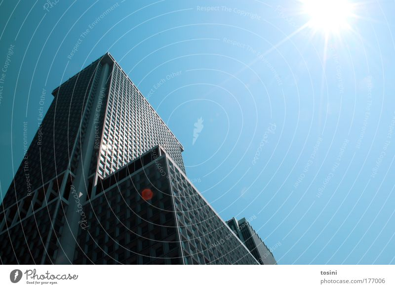 skyscraper Colour photo Exterior shot Deserted Copy Space right Copy Space top Day Light Contrast Reflection Sunlight Sunbeam Back-light Worm's-eye view Air Sky