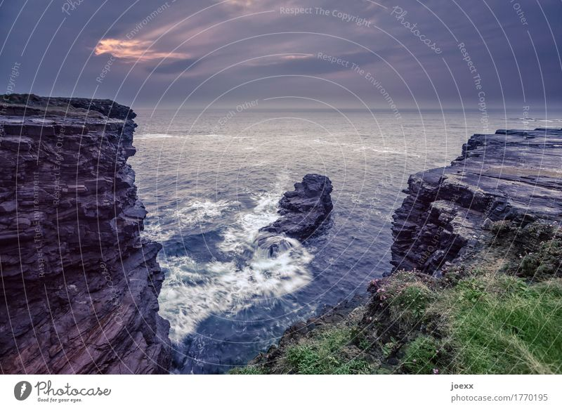 Finding in the moment Landscape Elements Water Rock Waves Coast Ocean Island Ireland Cliff Large Wild Horizon Nature Colour photo Subdued colour Exterior shot