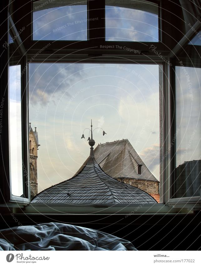 Window Building Architecture Bed Roof Tower Thuringia Anticipation Duvet Wake up Old town Oversleep Town Eisenach
