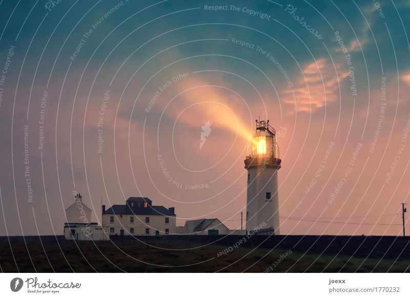 I'll go with you wherever you want. Sky Clouds Lighthouse Navigation Illuminate Old Large Bright Maritime Homesickness Wanderlust Idyll Safety Colour photo