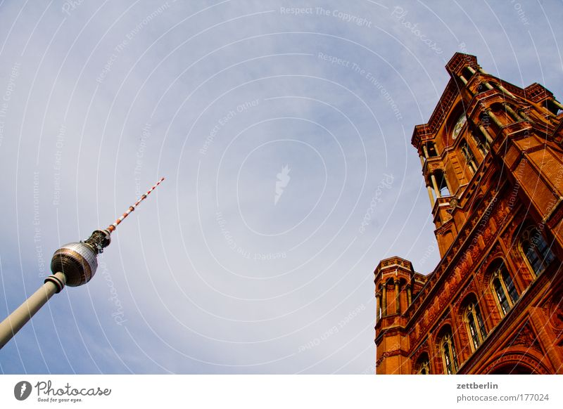 Sky Summer Vacation & Travel Clouds Berlin Tower Berlin TV Tower Capital city Television tower Alexanderplatz City hall Politics and state Rotes Rathaus Government Mayor Senate