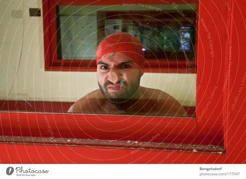 Human being Window Glass Nose Communicate Facial hair Window pane Marvel Shop window Bathing cap