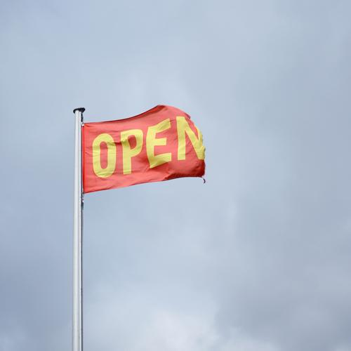 Open in the sky Economy Trade Services Stock market Business Company To talk Environment Sky Clouds Flag Flagpole Sign Characters Blue Yellow Red Belief
