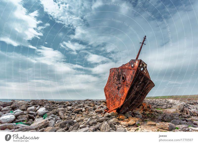 dauerparker Sky Rock Coast Inisheer Navigation Stone Steel Rust Lie Old Hideous Broken Blue Brown Gray Bizarre Stagnating Environmental pollution Transience