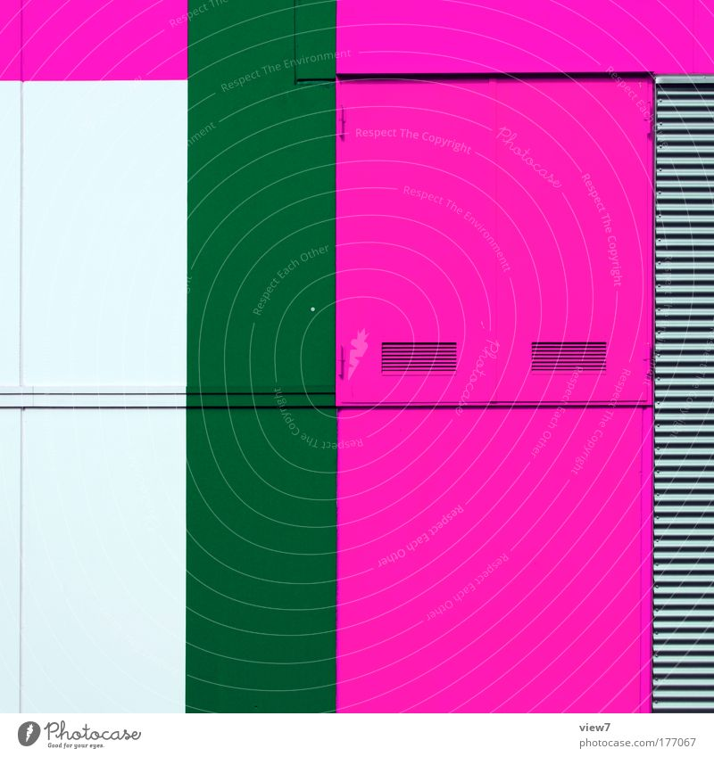 graphic pink. Colour photo Multicoloured Exterior shot Detail Deserted Copy Space middle Light Tool Machinery House (Residential Structure) Wall (barrier)