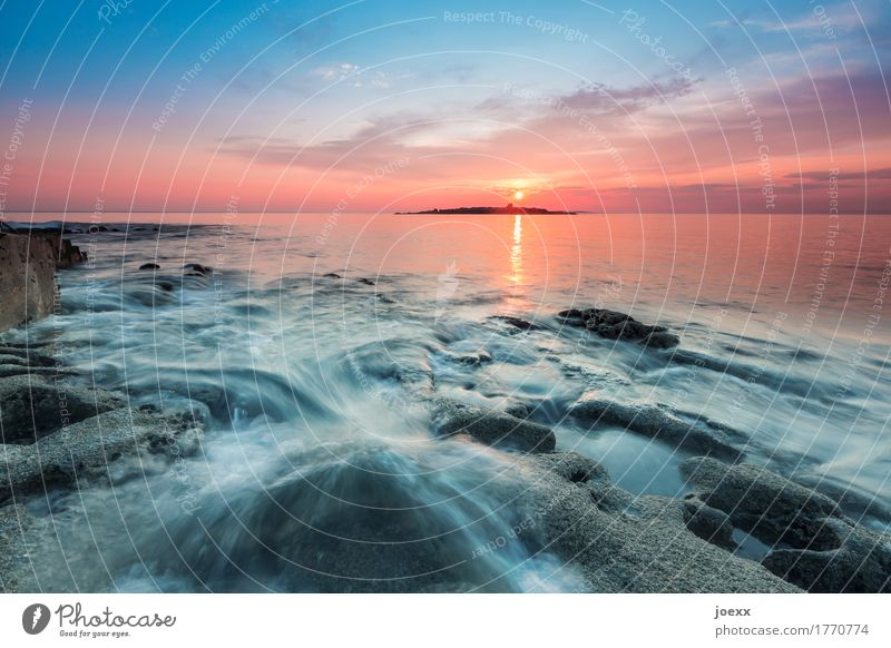 Sunset at the sea with rocky foreground, long exposure Maritime Idyll seascape Colour photo Sunrise Long exposure Evening Deep depth of field Rock Serene Hope