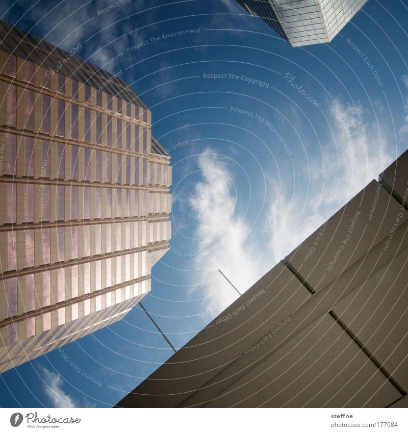 BIG BUSINESS Colour photo Exterior shot Deserted Copy Space middle Deep depth of field Worm's-eye view Work and employment Office work Economy
