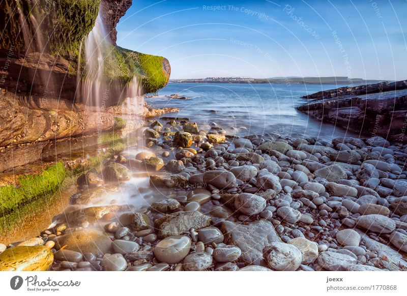 How time Vacation & Travel Nature Landscape Water Sky Beautiful weather Moss Rock Coast Ocean Island Ireland Waterfall Stone Blue Brown Gray Green White Idyll