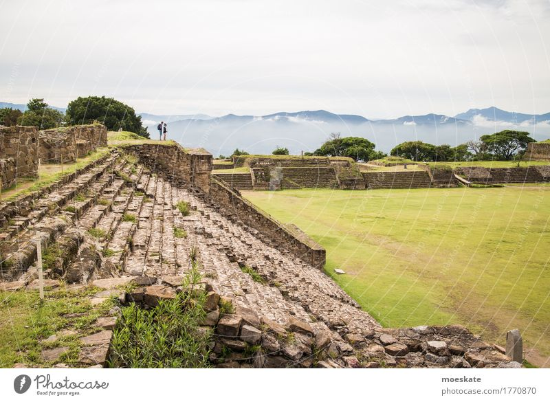 Monte Alban, Oaxaca, Mexico Human being Masculine Feminine Couple Partner Landscape Sky Clouds Summer Green Ruin Maya Vacation & Travel Together Sightseeing