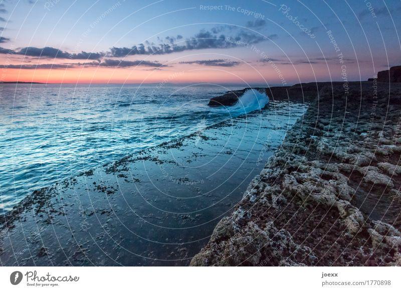 Sky Blue Beautiful Landscape Ocean Clouds Far-off places Black Coast Brown Orange Rock Horizon Waves Idyll Island