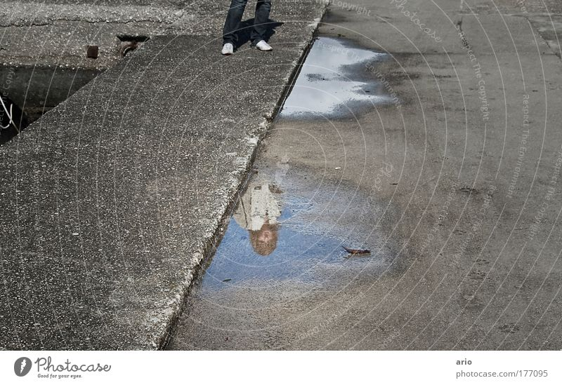 Mirror, mirror... Colour photo Exterior shot Day Reflection 1 Human being Small Town Harbour Street Concrete Observe Gray