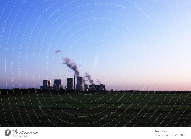 C0² Colour photo Exterior shot Copy Space top Evening Twilight Energy industry Coal power station Industry Environment Nature Landscape Sky Climate
