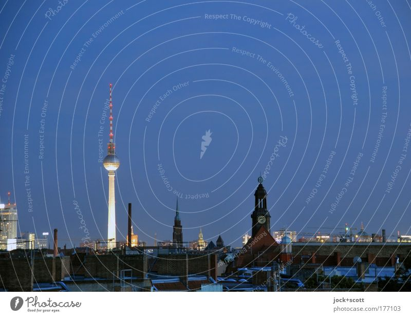 Twilight over Berlin Trip GDR Environment Cloudless sky Summer Beautiful weather Prenzlauer Berg Capital city Downtown Skyline Church Tower Architecture