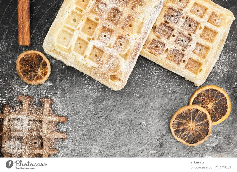 winter waffles Food Dough Baked goods Cake Dessert Candy To have a coffee Fragrance Sweet Brown Gray To enjoy Waffle Winter Chocolate Vanilla pod Cinnamon
