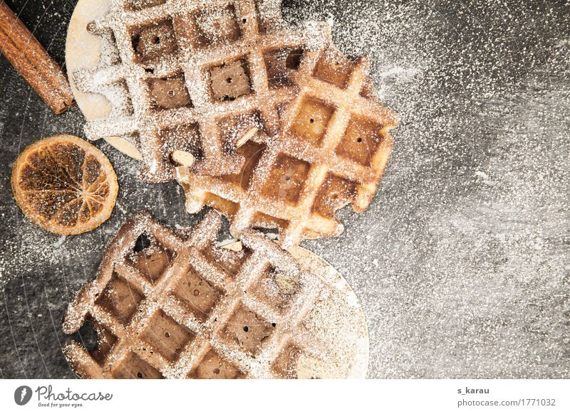 Belgian chocolate wafers Food Dough Baked goods Dessert Candy To have a coffee To enjoy Delicious Waffle Winter Confectioner`s sugar Cinnamon Sweet Chocolate