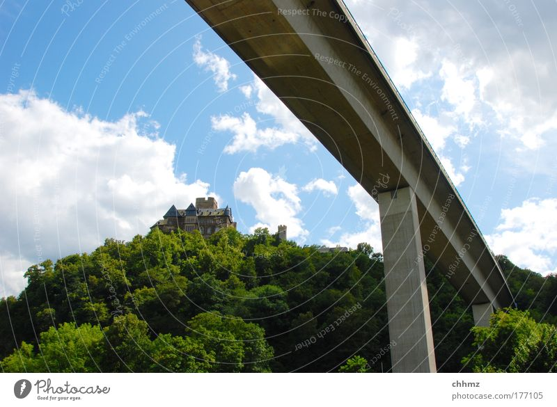 Two epochs Colour photo Deserted Day Sunlight Wide angle Tourism Trip Tree Forest Lahnstein Bridge Traffic infrastructure Highway Overpass Connect