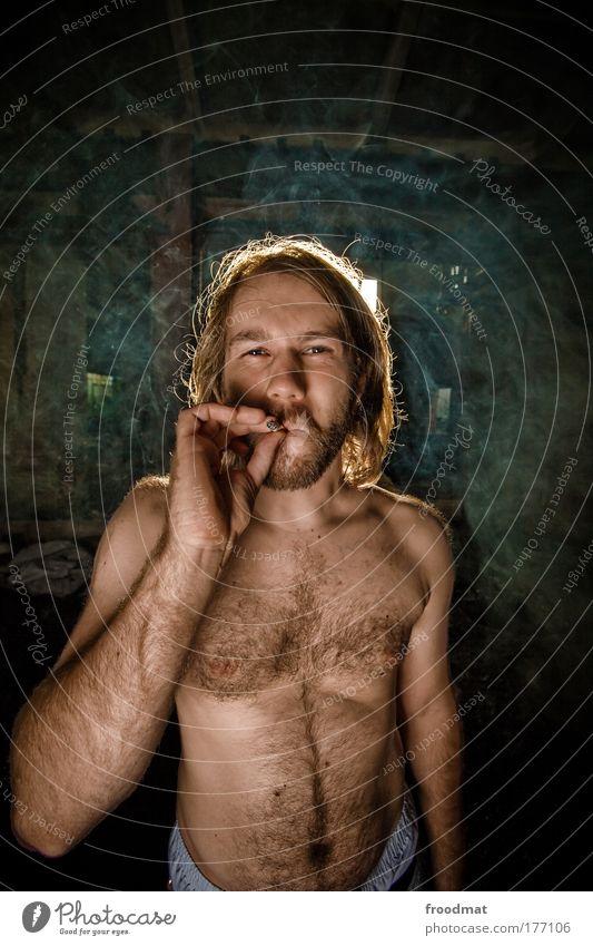 Human being Man Youth (Young adults) Dark Naked Hair and hairstyles Adults Masculine Smoking Natural Smoke Facial hair Cigarette Trashy Surrealism