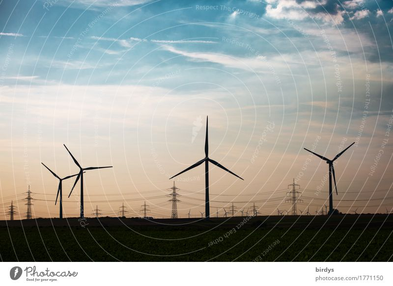 energy paths Energy industry Renewable energy Wind energy plant Sky Clouds Beautiful weather Esthetic Authentic Sustainability Blue Orange Black Success