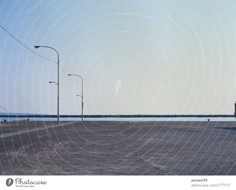 Sky Calm Lamp Wait Horizon Perspective Arrangement Esthetic Harbour Lantern Places Japan Parking lot Gravel Mole Lamp post