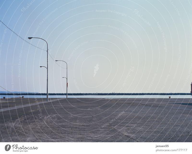 Sky Calm Lamp Wait Horizon Perspective Arrangement Esthetic Harbour Lantern Places Japan Parking lot Gravel Mole Lamp post