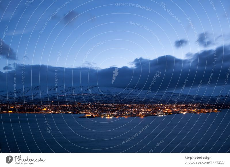 Icelandic city Akureyri at night, wintertime Vacation & Travel Tourism Adventure Far-off places City trip North Iceland clouds blue hour lights panorama Europe