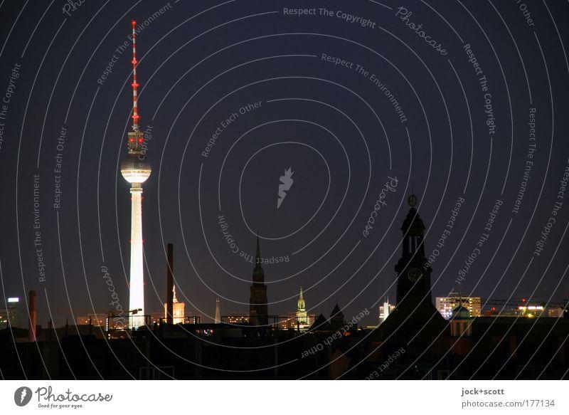 Night shift in Berlin Night sky Prenzlauer Berg Capital city Downtown Quarter Tourist Attraction Landmark Berlin TV Tower Illuminate Far-off places Moody