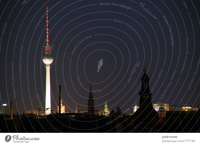 night shift Sightseeing City trip GDR Night sky Prenzlauer Berg Capital city Downtown Quarter Tourist Attraction Landmark Berlin TV Tower Illuminate Dark